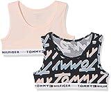 Tommy Hilfiger Mädchen Bustier 2P Bralette Logo Print, 2er Pack, Rosa (Navy Blazer/Seashell Pink 037), 176 (Herstellergröße: 14-16)