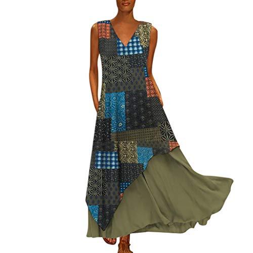 Tohole Damen Strandkleider Türkischer Stil Boho Lose Tunika Lange Sommerkleider Shirt Strandhemd Kleid Urlaub Vintage unregelmäßiges Kleid(Grün,2XL) -