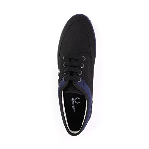 Fred Perry Stratford Canvas Black Snow White B1167102, Turnschuhe Noir