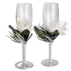 Ivy Lane Design Peacock Collection Crystal Toasting Flutes, Ivory, Set of 2
