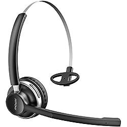 Mpow 【2 Modes Bluetoothe & Filaire】 Micro Casque Bluetooth V4.2 sans Fil/Filaire Professionnel Téléphone Oreillette Léger avec Double Microphones,Autonomie 13 H pour Téléphone/Tablettes/PC/Xbox