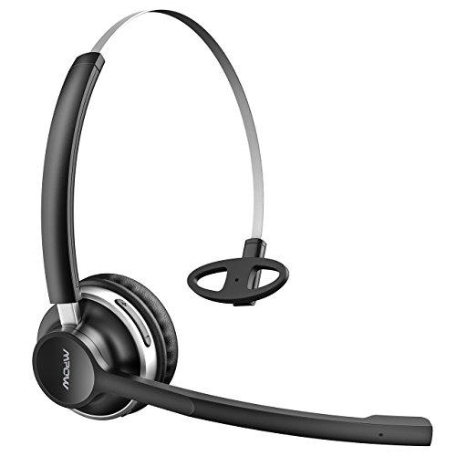 【2 Modes Bluetoothe & Filaire】Mpow Micro Casque Bluetooth V4.2 Sans Fil/Filaire Professionnel Téléphone Oreillette Léger avec Double Microphones,Autonomie 13 H pour Téléphone/Tablettes/PC/PS4/Xbox