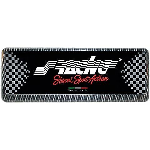 Simoni Racing PTX/4AC-Soporte para placa de matrícula delantera universal, color negro y gris