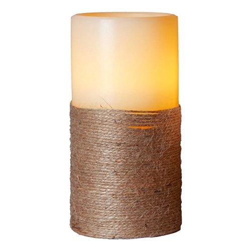LED de vela de cera–Rope Line Indoor–Batería–Temporizador–FLAC Núcleo–-> 7,5x?15cm–Crema