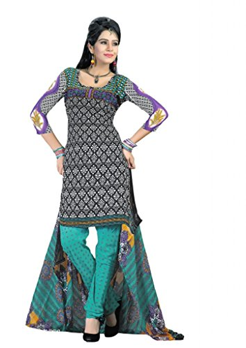 Salwar Studio Women's Art Crepe Unstitched Churidar Kameez With Dupatta (Mega-1021_Black & Blue)  available at amazon for Rs.495