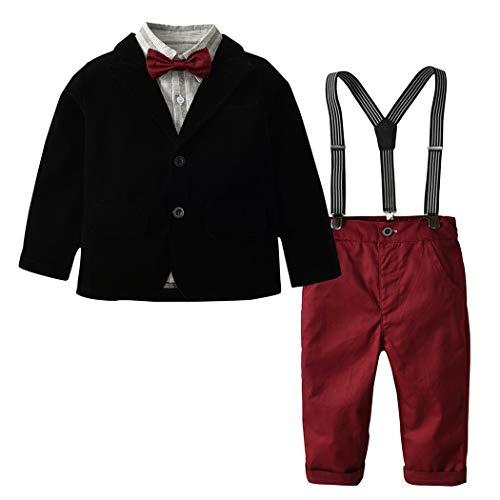 HANMAX Baby Jungen Bekleidungsset 5 Stück Hosen Shirt Kleidung Set Anzug + Hose + Shirt + Fliege + Riemen