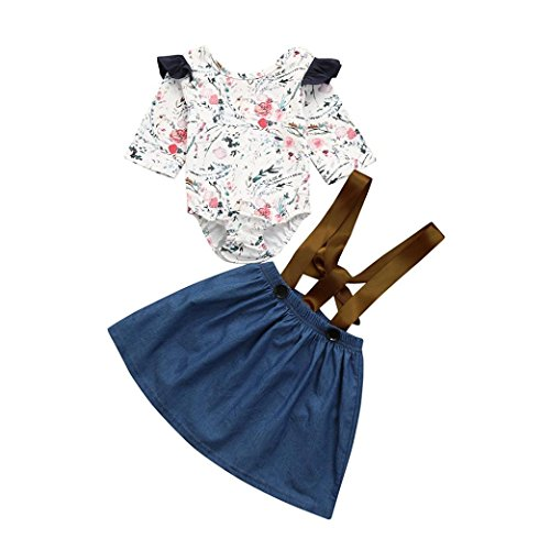 Voberry Toddler Kid Spring Summer Dress Baby Girls Ruffle Sleeve Floral Print Rompers Jumpsuit Strap Skirt Princess Dress Outfits Set