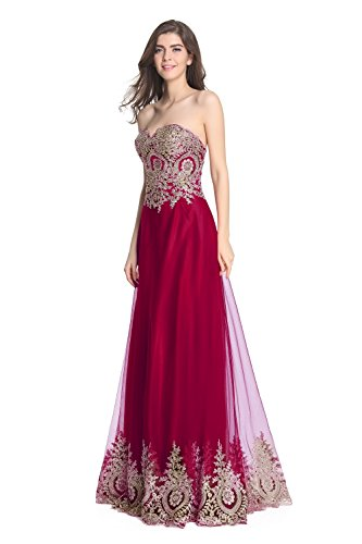 Fanciest Damen Formelle Embroidery Abendkleider Ballkleid 2016 Lang Evening Gowns Burgundy