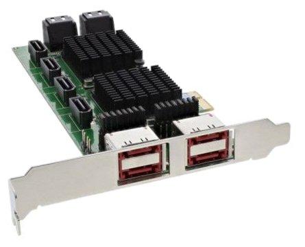 InLine 19054Controller SATA, 8SATA 6Gb/s und 4eSATA, PCIe-Karte 2, schwarz - Esata-karte