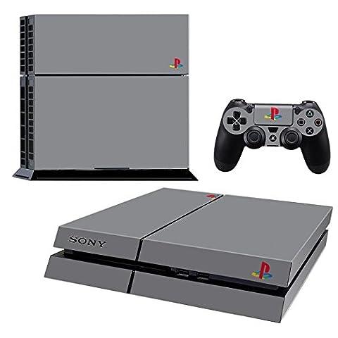 Pandaren® pleins faceplates skin sticker pour console PS4 x 1 et le manette x 2(gris style PSone) [Instruction dans les listes d'image]