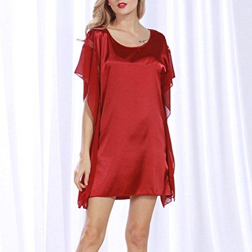 Camicia da notte e vestaglia pigiama sexy da donna Vino