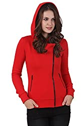 TEXCO WINTER COTTON POLYSTER FLEECE HOODED RED STYLEST JACKET (Large)