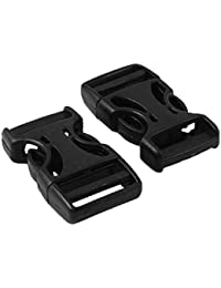 "2 Pcs Black Hard Plastic 3/4"" Side Quick Release Buckle"