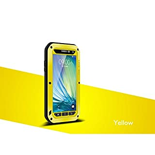 Waterproof Case for Samsung Galaxy A5, LOVE MEI Brand Aluminum Material with Gorilla Glass Screen Cover Yellow *Two-Years Warry*