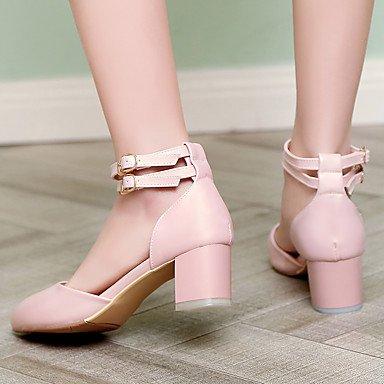 Talloni delle donne Primavera Estate Autunno Inverno Dress Altro PU ufficio & carriera Party & Sera tacco grosso con fibbia rosa nastro Beige Pink