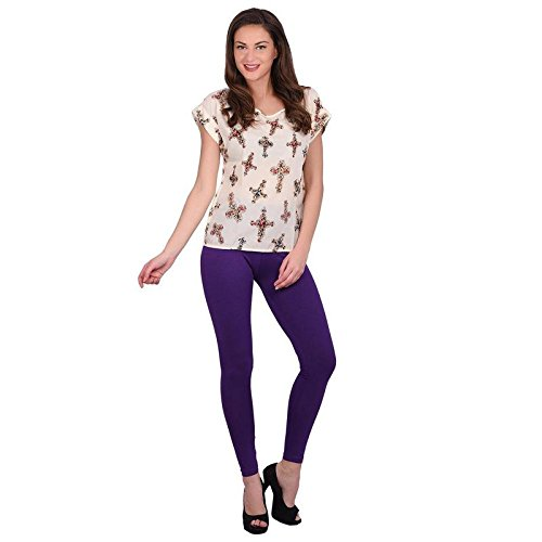 Leggings Jeggings for Women Girls Premium Quality Cotton Polyster Western Wear Stretchable Ankel Length Solids Color Free Size Compatible for Sports-wear, Yoga-wear, Arobics-wear , Party-wear, Casual-wear Grape XXL  available at amazon for Rs.299