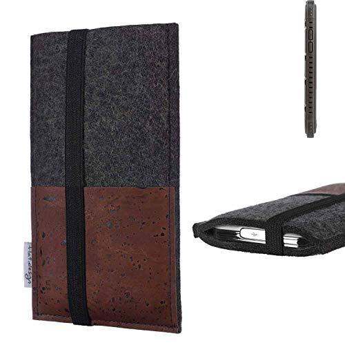 flat.design Handy Hülle Sintra für Cyrus CS 35 Handytasche Filz Tasche Schutz Kartenfach Case braun Kork