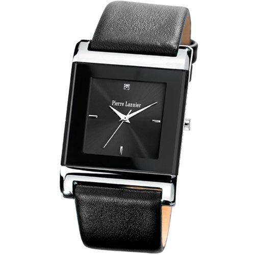 Pierre Lannier 213B138 - Reloj analógico de cuarzo para hombre con correa de piel, color negro
