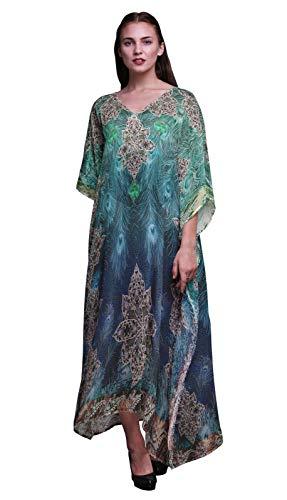 Phagun Pfau Feder Damen Kaftan Urlaub Loungewear Maxi Dress Strand vertuschen-XL-3X -
