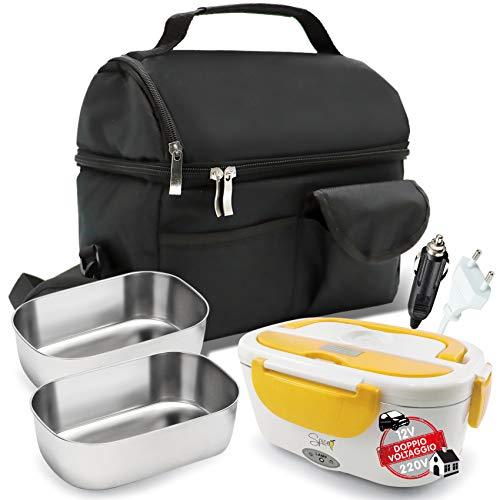 Spice set borsa termica con tracolla + scaldavivande doppio voltaggio amarillo inox + 2 vaschette da 1,5 litri in acciao inox