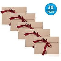 Kraft Sobres, Comius 30 Piezas Vintage Kraft Cinta Sobres con Cinta roja, Regalo Sobres para Invitaciones, Bodas, Navidad