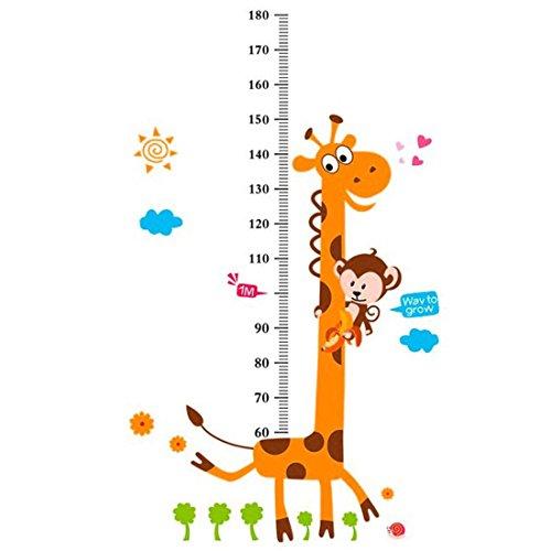 sourcingmap Wachstum Höhen Messung Chart Giraffenmuster PVC Wandaufkleber DIY Dekoration Für Tapete (Wachstum Giraffe Chart Wandtattoo)