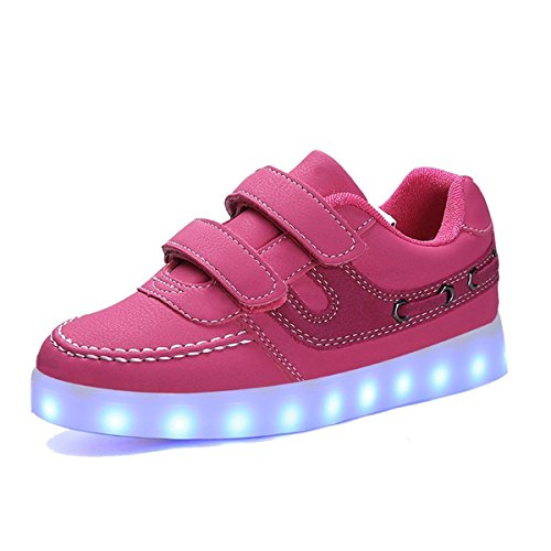 Aidonger Unisex Kinder LED Schuhe Sneaker Sportschuhe USB Lade Outdoor 11 Colors Modes Shoes Rosarot