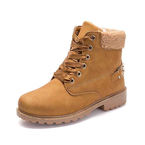 Donna Inverno Pelliccia Stivali da Neve Stringate Scarpe Snow Boots Caviglia Caldo Stivali Martin Stivaletti Cachi 39