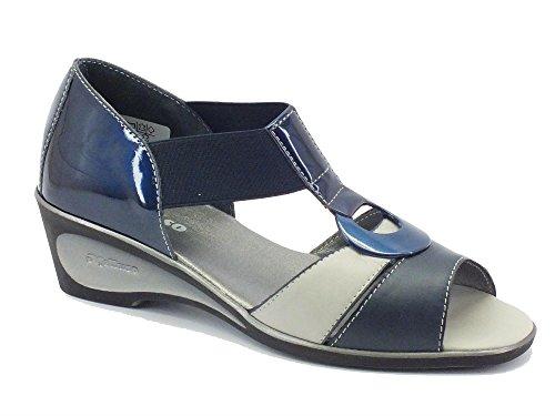 Sandali Melluso in vernice blu e pelle grigia-blu (Taglia 37)