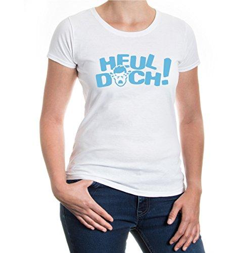 buXsbaum® Girlie T-Shirt Heul doch White-Skyblue
