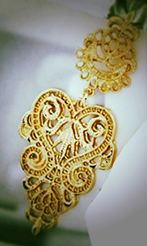 Lange Linayo® Gold Farbene Viktorianische Vintage Style Barock Spitzen Ohrringe, ohrstecker - 3