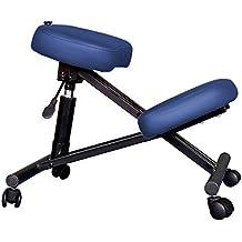 Mari Lifestyle de la serie profesional Malmo - Azul Ergonómico Ortopédico Silla de rodillas Silla sin respaldo por Uso en oficina masaje cosmética salón de belleza giratorio terapia reiki con ruedas