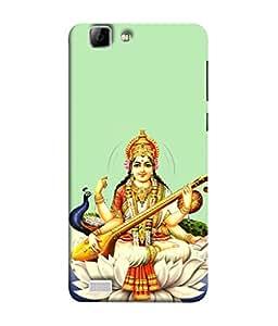 PrintVisa Designer Back Case Cover for Vivo X3S (Maa Saraswati With Peacock)