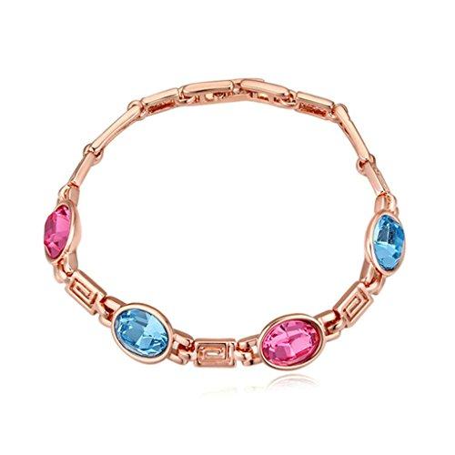 KnSam Damen Rose Vergoldet Bettel Armbänder Roseo Blau Bar Link Two-tone Strass [Neuheit Armbänder]