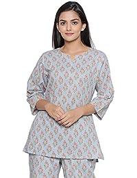 JISORA Women's Cotton Printed Night Suit