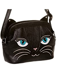 Banned Apparel Ropa Cara de gato Cute Kitty – Funda de piel sintética bolso de mano
