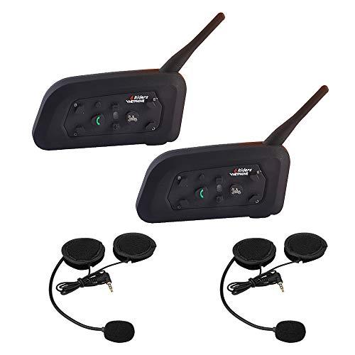 Bluetooth Intercom Casque de Moto Kit V6 Interphonie 1200m 6 Cavaliers de Communication Main Libre Ecouteur avec Anti Bruit Communication Système Microphones pour Moto/Vélo/VTT/Voiture (2 Pack)