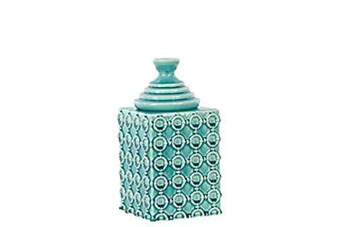 Ceramic Square Canister with Embossed Ring Pattern & step Lid SM Gloss Finish TURQUOISE