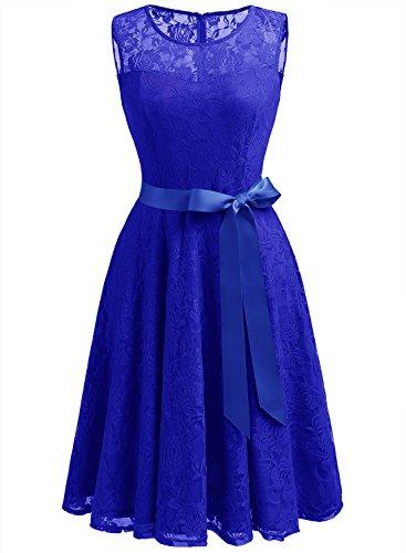 Dressystar DS0009 AbendKleid Ärmellos Kurz Brautjungfern Kleid Spitzen Rundhals Damen Kleider Royalblau S (Blaues Ärmelloses Kleid)