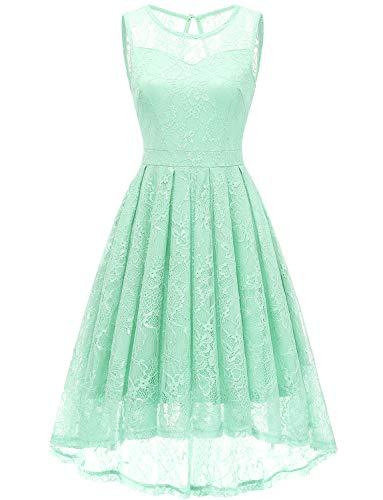 Gardenwed Damen Kleid Retro Ärmellos Kurz Brautjungfern Kleid Spitzenkleid Abendkleider CocktailKleid Partykleid Mint M - Grün-kleid Mint Für Frauen