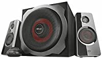 Trust GXT 38 2.1 PC Gaming Speaker System with Subwoofer for Computer and Laptop, 120 W, UK Plug - Black/Red