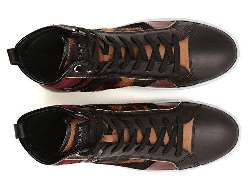 Sneakers montantes Hogan femme en cuir multicolore - Code modèle: HXW1410S6509MJ0AT0 Multicolore