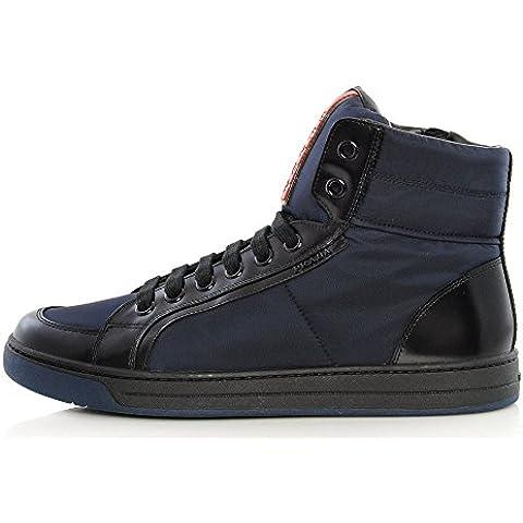 PRADA Uomo Sneakers AVENUE High Top, Pelle E Nylon, Stivaletto 4T2723 3OUU F0008