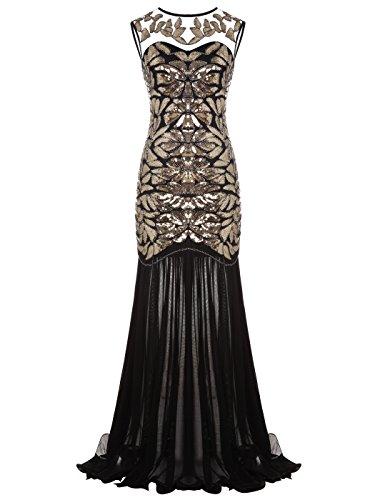 FAIRY COUPLE 1920 Bodenlänge V-Rücken Pailletten verschönert Abschlussball Abend Kleid D20S004(L,Gold Schwarz) - Kleid Schwarze Lange Flapper