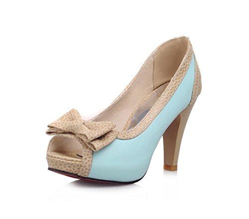 WZG Sommer neuen Bogen Sandalen hoch mit dick mit flachen Mund Fischkopf Schuhe große Schuhe Blue