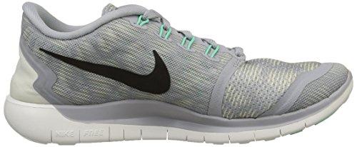Nike Wmns Free 5.0 Print, Scarpe sportive, Donna Wolf Grey/Blk-Smmt Wht-Grn Glw