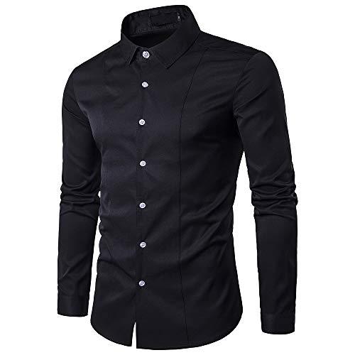 Gdtime camicie da uomo d'affari, camicia casual a maniche lunghe slim fit classica tinta unita camicia elegante antirughe per uomini delicati, taglia (nero, m)