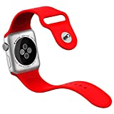 Apple Watch Armband, JETech 38mm Weichen Silikon Sport Replacement Wrist Band Uhrenarmband für Apple Watch 38mm Alle Modelle (Rot) - 2222