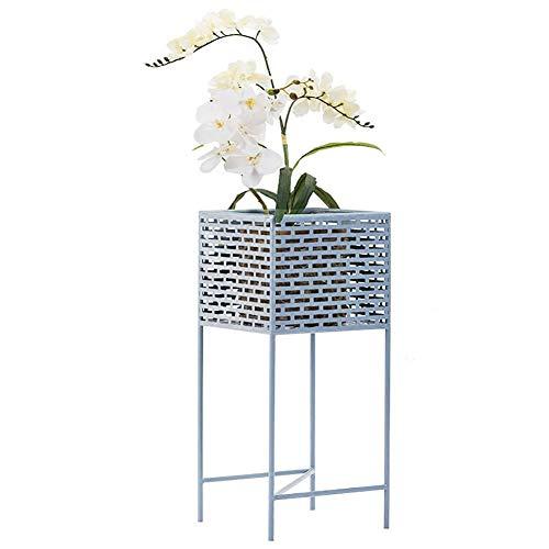 Pflanzenregale ZCJB Square Iron Art Plants Stand Flower Pot Holder, Bodenständiges Bücherregal Für Regale Für Balkon/Büro, Sky Blue Square Pot Holder