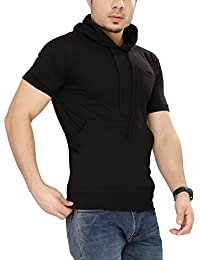 Tees Collection Men's Cotton Half Sleeve Brown Color Hooded T-Shirt